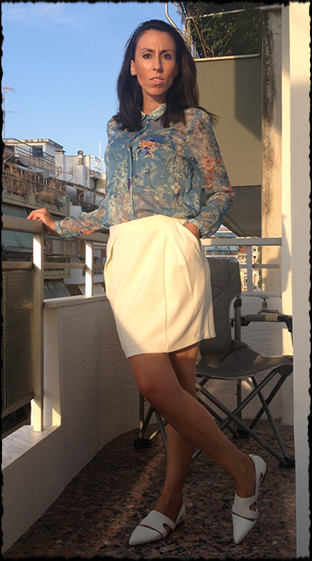 white-skirt-floral-shirt - casual spring looks