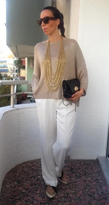 gold-knit-white-pants