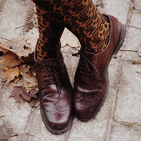leopar tights brogues