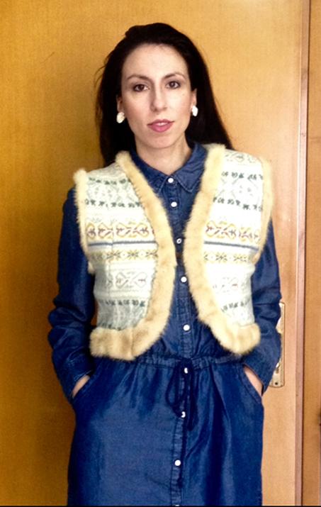 wool gillet-fur trimming