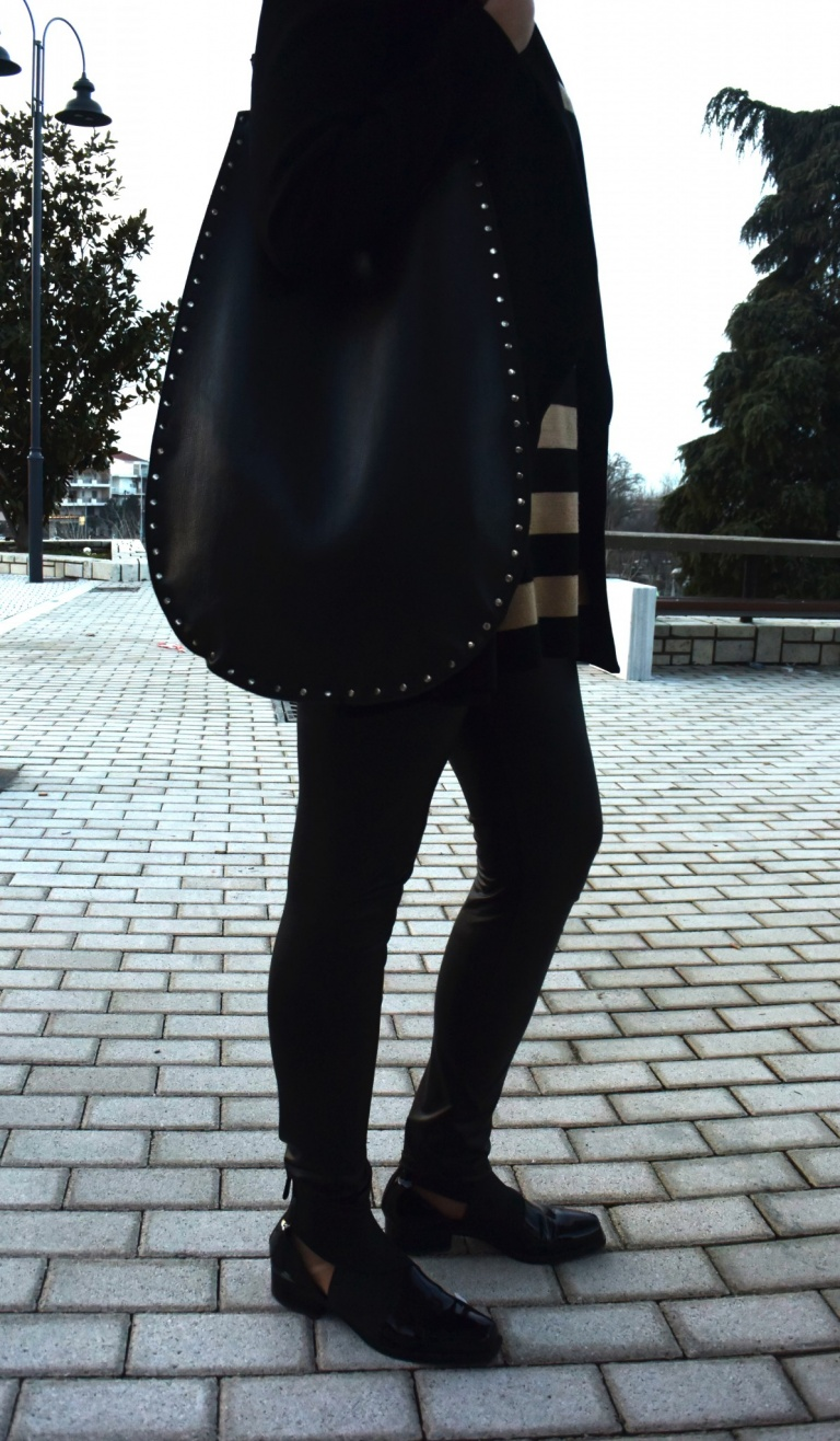 studded black bag-armani shoes