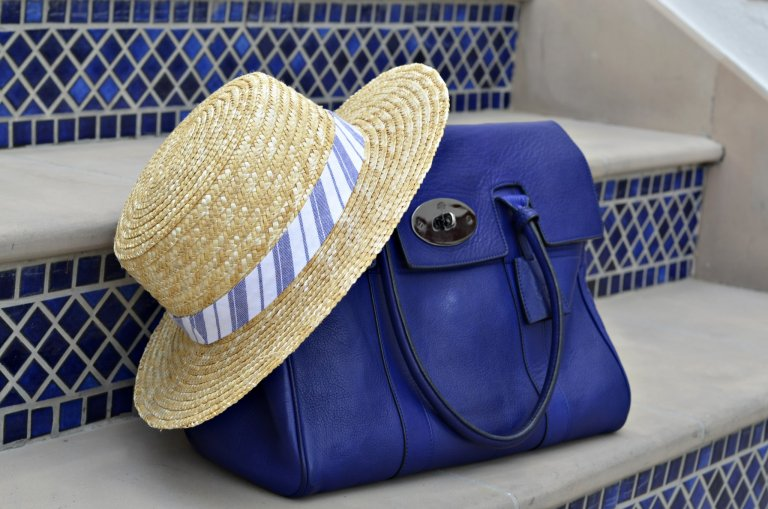 mulberry blue bag - forever21 hat