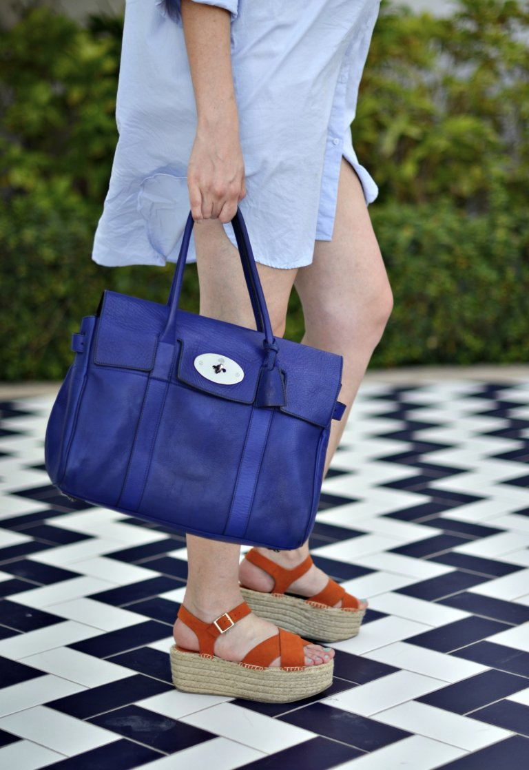 mulberry blue bag-topshop orange sandals