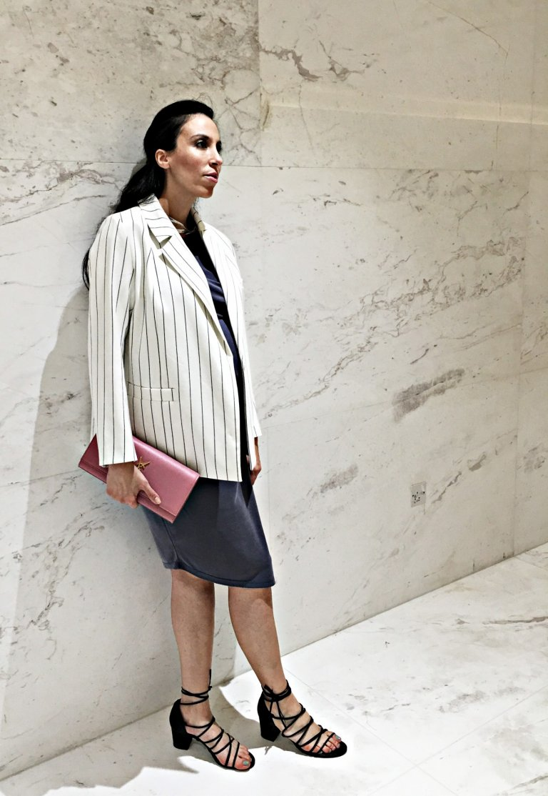 grey-dress-white-blazer-maternity